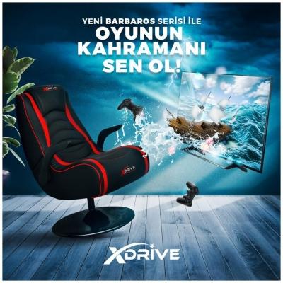 xDrive Barbaros Flaş Tab. Oyun ve Oyuncu Koltuğu Kırmızı/Siyah